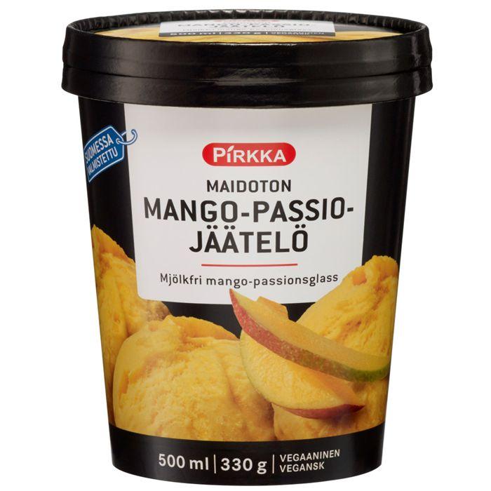 Pirkka maidoton mango-passiojäätelö