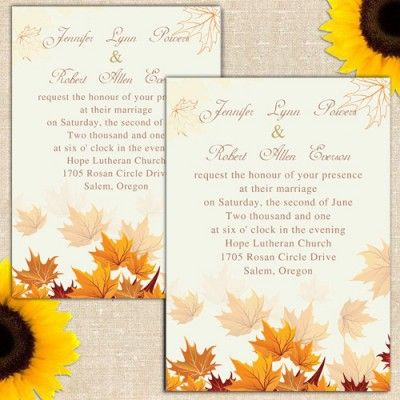 Fall Leaves Wedding Invitations Ewi248