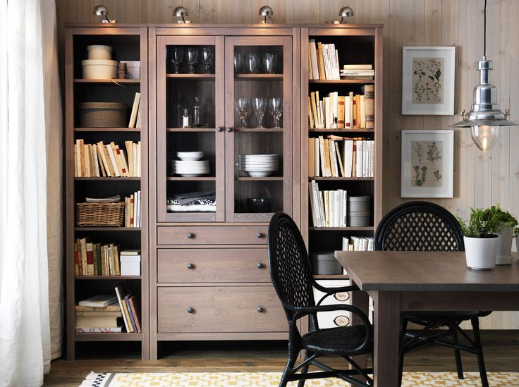 HEMNES Grey Brown Bookcases And Glass Door Cabinet With Drawers. Dining Room  ...