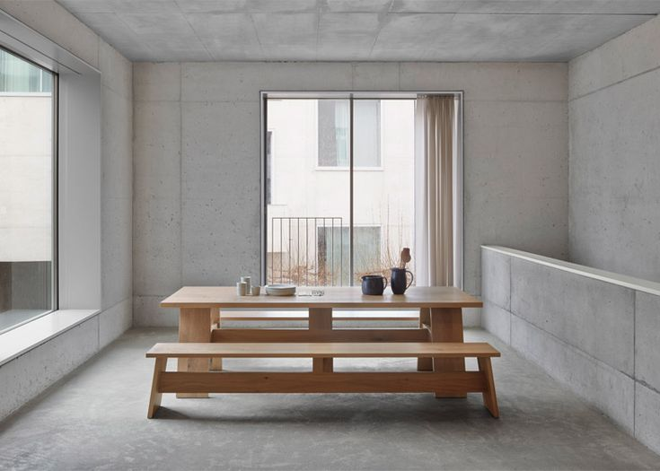 British architect David Chipperfield has designed a solid wood table, bench  and stool for German