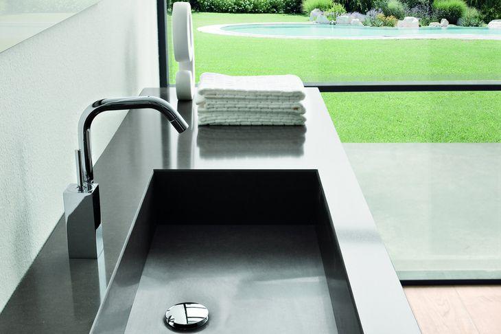 """Quartzforms - quartz """"cloudy black"""" bathroom countertop"""