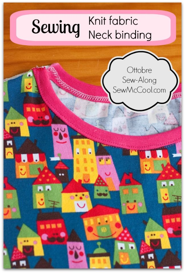 Tips and suggestions for sewing neck binding on knit fabric garments, at sewmccool.com