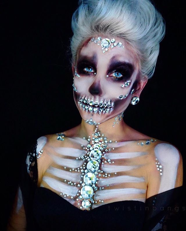 "✨CRYSTAL SKELETON✨ my crystal skull makeup from yesterday! i kept seeing @the_wigs_and_makeup_manager's beautiful creations & wanted to make a pretty bejeweled skull too!  literally no photo of this makeup did it justice so picking one photo was difficult, ill be posting more views at some point! ✨ADD ME ON SNAP - ""coriewillet"" - theres a lot of random photos of my dog and martinis but when i paint, i post lots of progress shots;) PRODUCTS  @nyxcosmetics sfx creme white bodypaint  @h..."