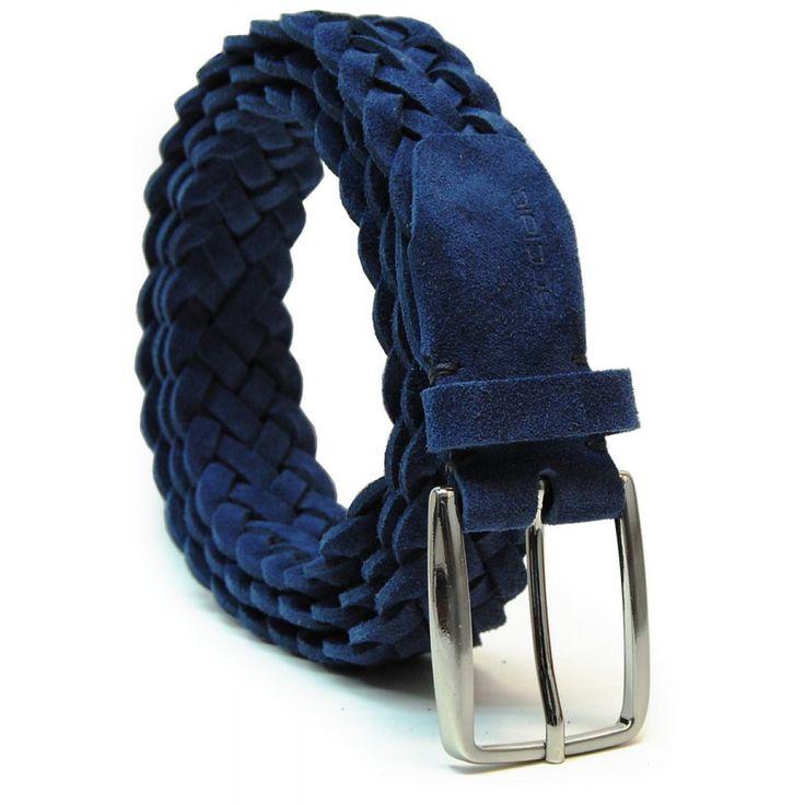 Flechtgürtel weich hochwertiges Veloursleder Blau von designer Acciaio Alessandro   made in Italy