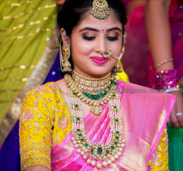 Bride in Latest Yellow Designer Blouse