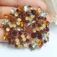 2.17 дюймов золото тон топаз горный хрусталь хрустальный цветок брошь подвеска искусство украшения EE06582C2