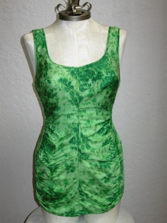 1950's Jantzen Green Swimsuit and Cover Up - 25 to 26 inch waist by MTvintageclothing on Etsy