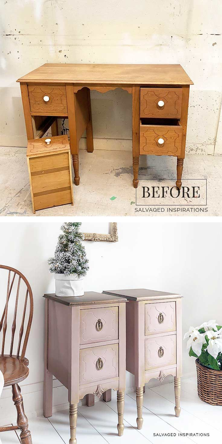 Painted Nightstands From Old Desk In 2020 Painted Night Stands Repurposed Furniture Repurposed Furniture Diy