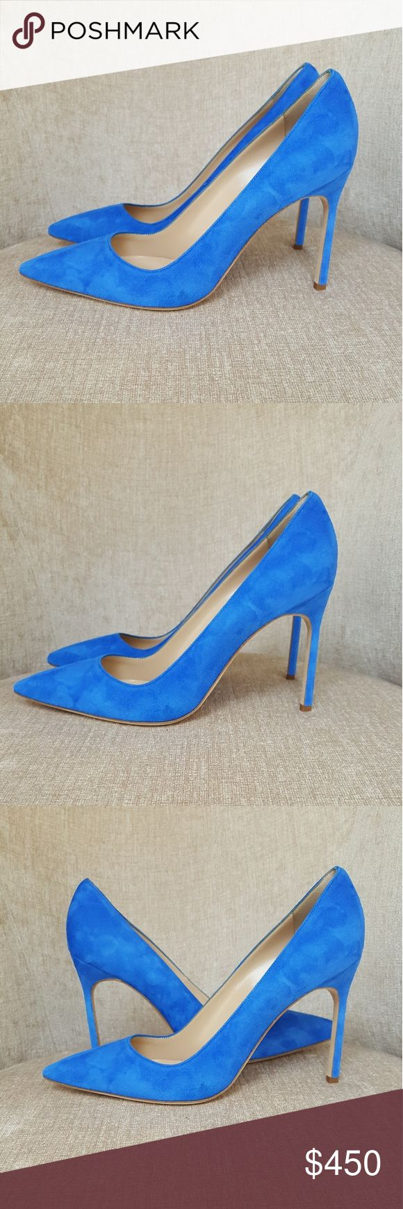 NIB Manolo Blahnik Blue Suede BB Pumps US 8.5 / Euro 38.5.  New with defects.  Super faint scuffs on soles.  Super faint marks on suede.  See pictures.  Heels 4 inches. Manolo Blahnik Shoes Heels