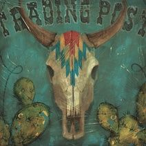 Trading post cow skull wall art painting by Aaron Christensen