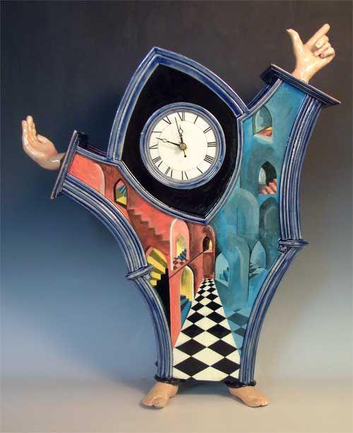 Jester's palace ceramic sculpture clock.