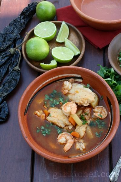 Caldo de Camaron y Pescado {#SundaySupper: Spice It Up} | www.girlichef.com