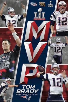 Tom Brady Super Bowl Li (2017) Mvp England Patriots Commemorative Poster