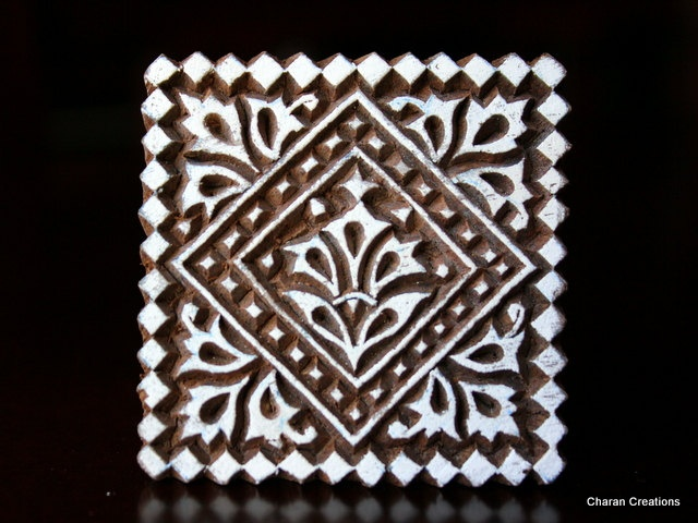 Hand Carved Indian Wood Textile Stamp Block- Square Geometric Motif.  2.25""