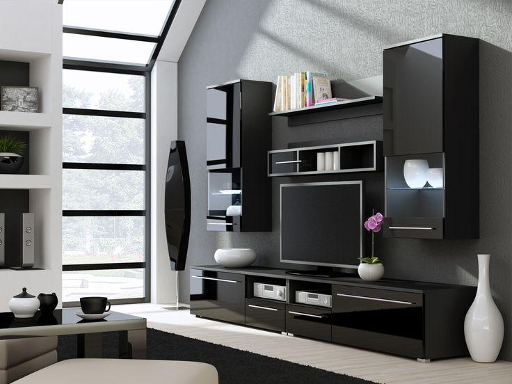 kansas 3 high gloss black tv wall unit
