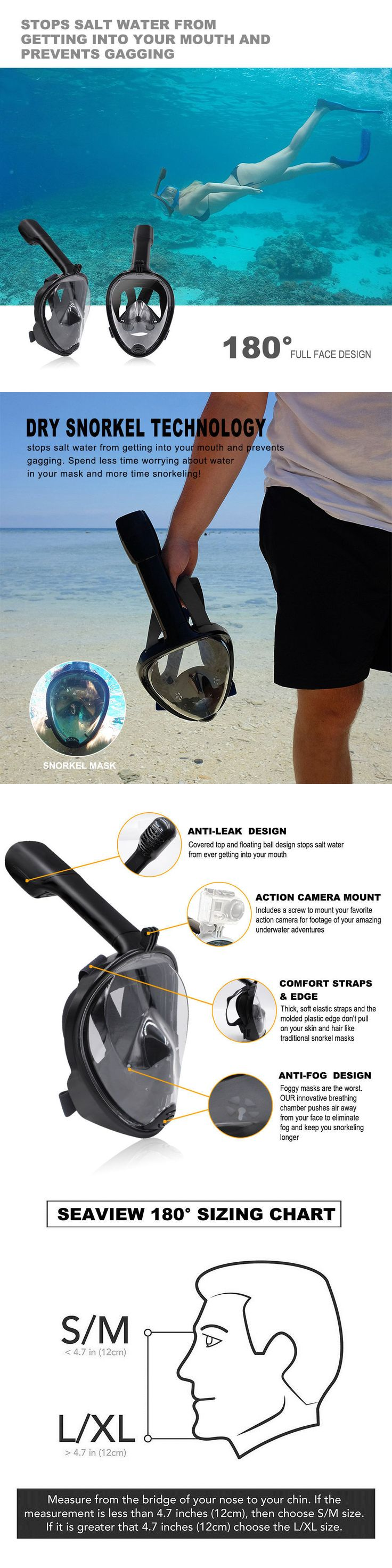 Masks 71161: Swimming Diving Breath Full Face Mask Surface Snorkel Scuba For Gopro L Xl S M -> BUY IT NOW ONLY: $30.99 on eBay!