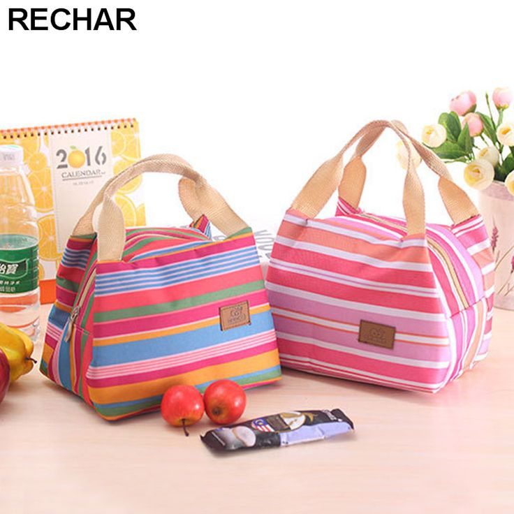 Portable Lunch Bag 2017 New Stripe Cooler Bag Thermal Insulation Bags Travel Picnic Food Lunch box bag for Women Girls Kids
