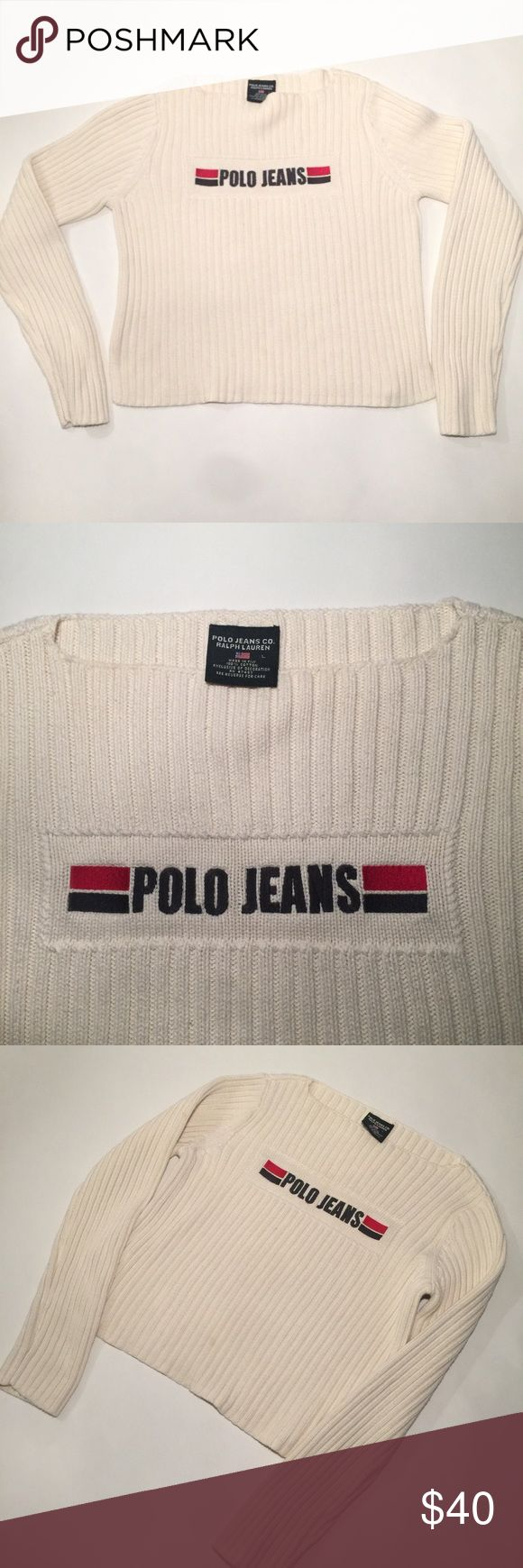 "Ralph Lauren Polo Jeans Sweater Check out this vintage Ralph Lauren Polo Jeans sweater in a beige color, the sweater has no holes or stains and is in good condition. I believe the sweater has a slight crop to it (measures approximately ""20 in length) a definite 90s realness look! Size Large   Tags: urban outfitters, nasty gal, hot topic, Ralph Lauren, Polo Jeans, vintage, unif Ralph Lauren Sweaters Crew & Scoop Necks"