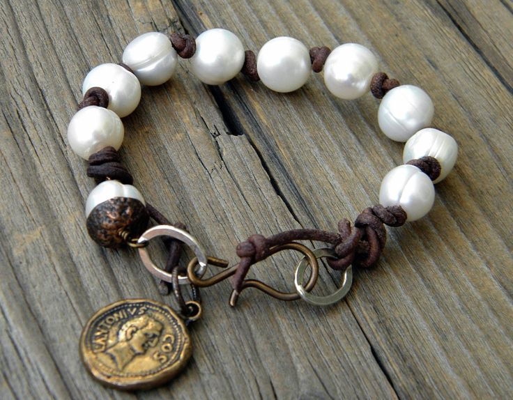Boho Large White Pearl Bracelet, Luminous Pearls, Sundance Style Bohemian Leather Bracelet, Artisan Relic Coin by DeetabyDesign on Etsy