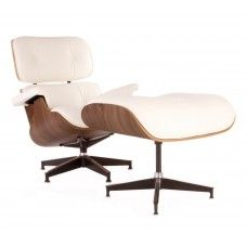 Charles & Ray Eames Inspired 670 Lounge Chair and 671 Ottoman - Walnut & White Leather