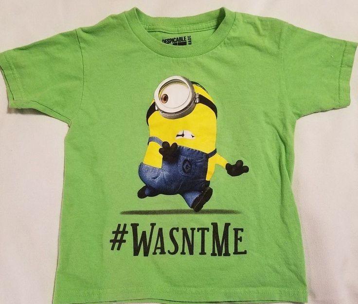 Despicable Me Minion Unisex Kids Shirt Size XS ( 4-5) Green Short Sleeve Shirt #DespicableMe