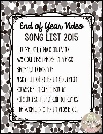 End of Year Video Song List and Music in the Classroom