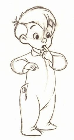 ✶ In this drawing Michael appears to be unsure as to what he can make out of something. [from the first drawing done by Frank Thomas in the development of the characters for Peter Pan] ✏️★