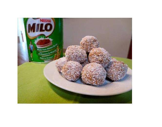 MILO truffles 1 pakkie Marie biscuits, crushed 1 blik kondensmelk 4 e Milo of 2 e cocoa powder 1/2 kop klapper (extra om die balletjies in te rol Maak die koekies fyn en meng al die bestandele goed saam.  Rol in balletjies en sit in yskas vir halfuur.