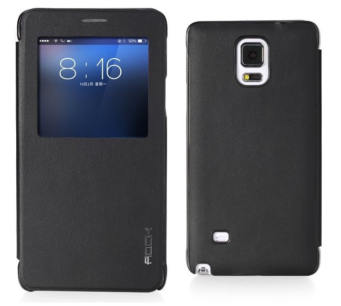 ROCK S View Leather Smart Case Preview - Μαύρο (Samsung Galaxy Note 4) - myThiki.gr - Θήκες Κινητών-Αξεσουάρ για Smartphones και Tablets - S View Leather Black by ROCK