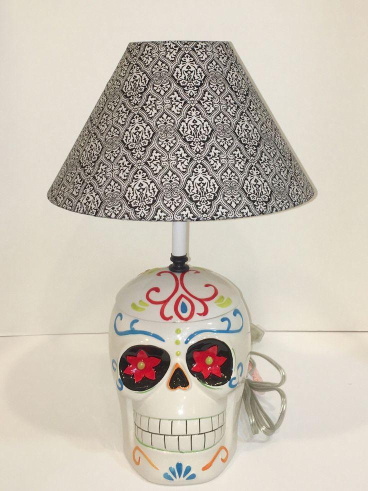 Custom made sugar skull lamp with lampshade - My Sugar Skulls