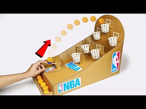 How to make NBA Basketball Slam Dunk Arcade Board Game from Cardboard DIY at Hom…