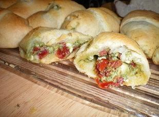 Chicken, feta, pesto and sun dried tomato stuffed Croissant