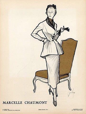 Louchel 1948 Marcelle Chaumont Suit & Suzanne Talbot Hat Fashion Illustration