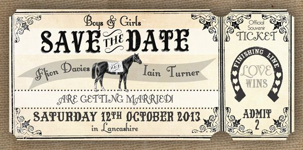 Blog version Horse Racing Save the Date Wedding Stationery Vintage Ticket Style by In the Treehouse