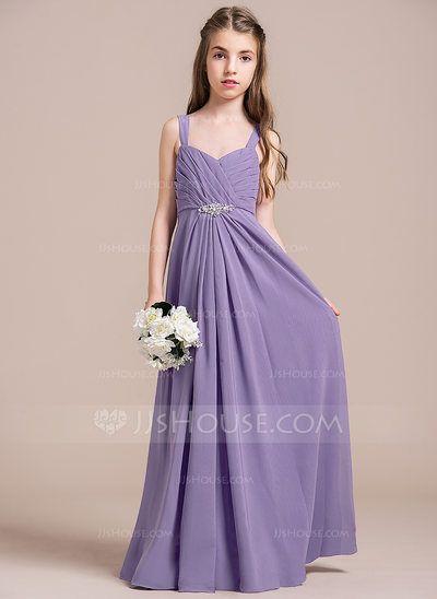 [US$ 77.49] A-Line/Princess Sweetheart Floor-Length Chiffon Junior Bridesmaid Dress With Ruffle Beading