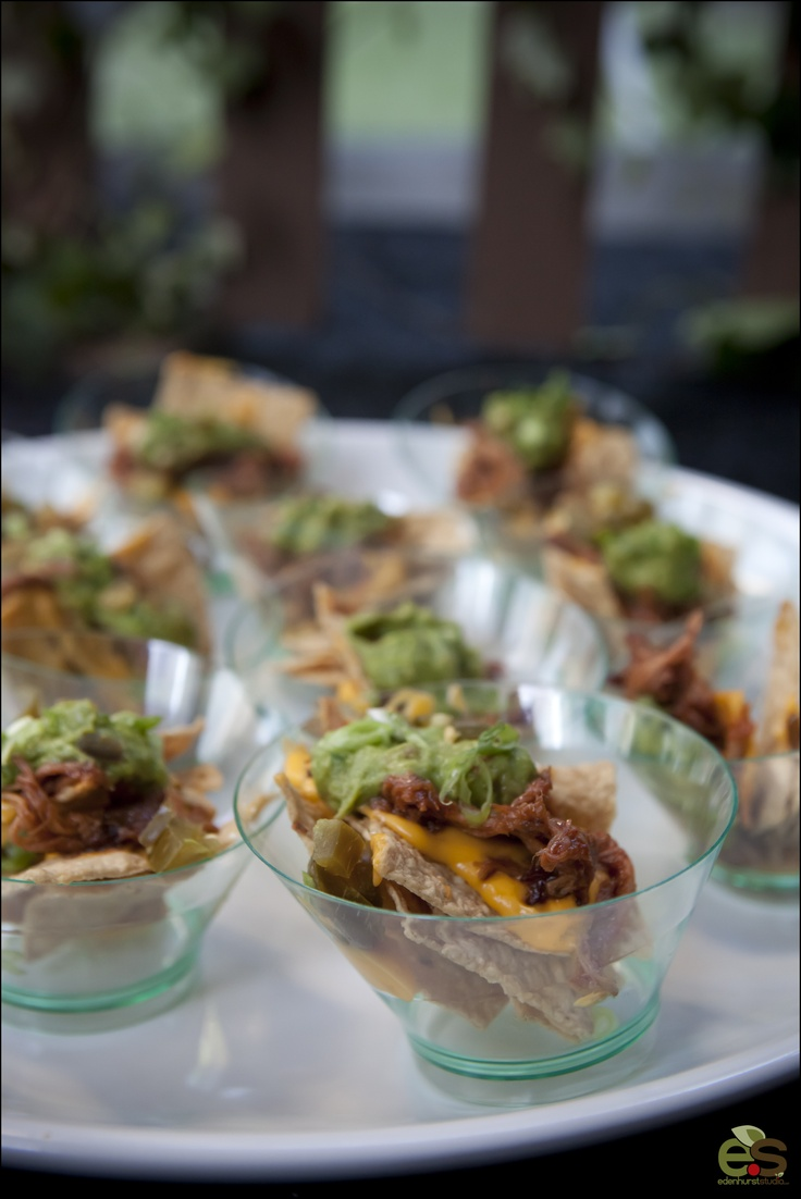 Individual serving nachos by Blue Plate Catering in Chicago
