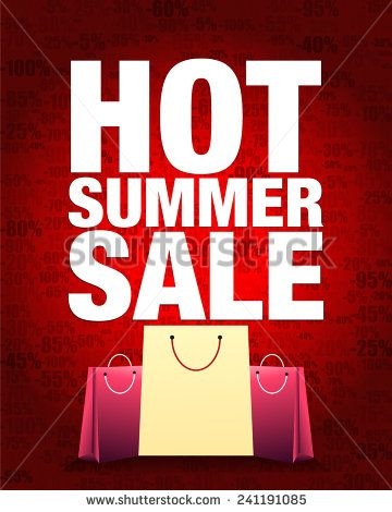 Hot summer sale design and shopping bag with percentage red gradient background.