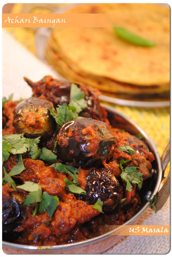 US Masala: Achari Baingan (Eggplant curry with pickle spices)