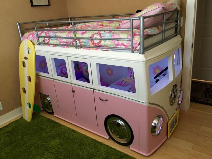 VW Bus Bed - Love the Surf Board steps.