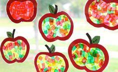 Apfel Fensterbilder mit Seidenpapier basteln