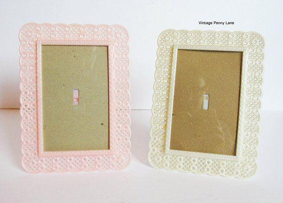 Vintage Plastic Picture Frames Set of 2 Pink / Off White 5