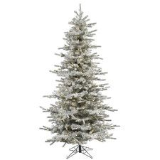 Popular Flocked Slim Sierra u White Artificial Christmas Tree with LED White Lights with Stand F hrte WeihnachtsbaumWeihnachtsschmuckBeleuchtungWei e