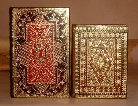 Two examples of royal book binding. The colors and patterns remind me of ancient illuminated manuscripts.