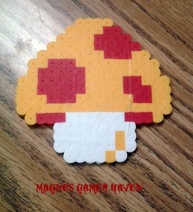Super Mario Brother's Perler Bead Mushroom. $3.00, via Etsy.