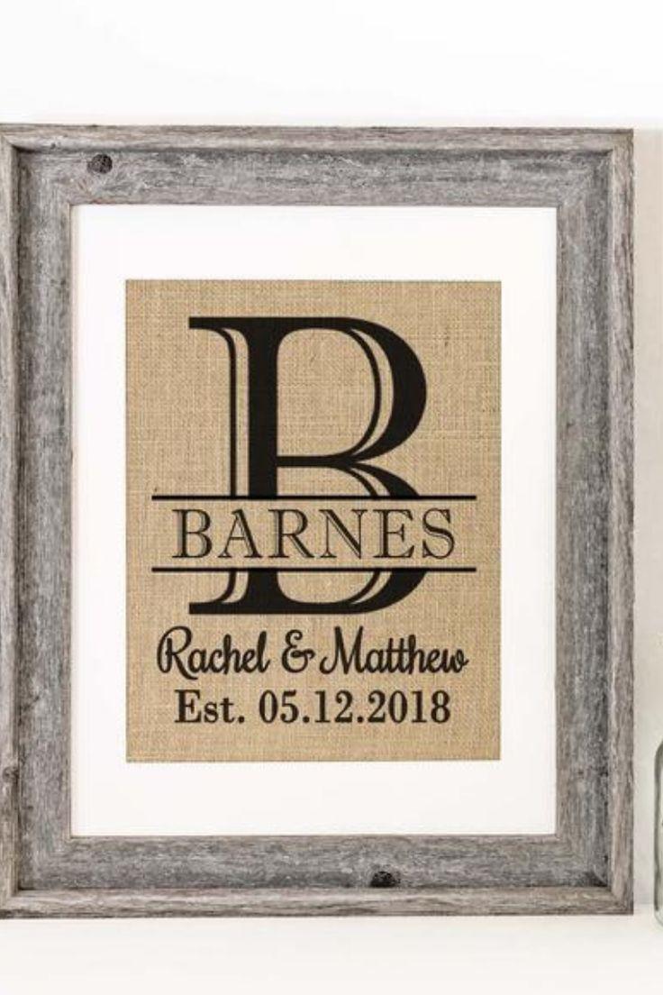 Monogrammed Burlap Art Print Personalized Wedding Gift For Etsy Personalized Wedding Gifts Wedding Gifts For Couples Wedding Shower Gifts