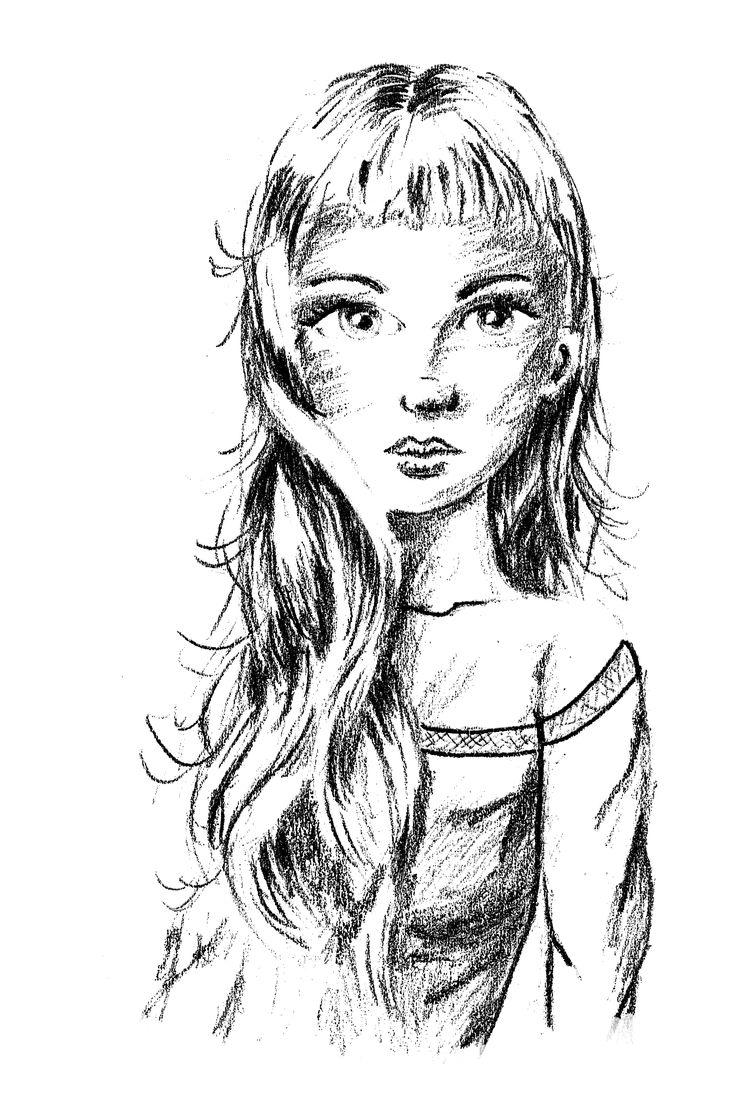 Potlood tekening van meisje met lang golvend haar