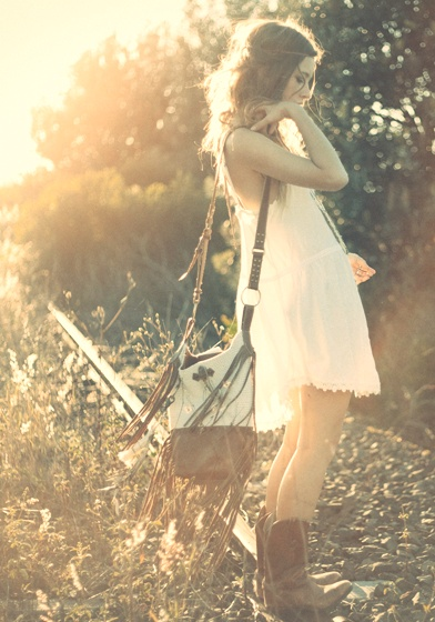 Wispy white Lacey dress, I love this girl's country style.