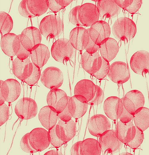 Red balloons. water-colored.
