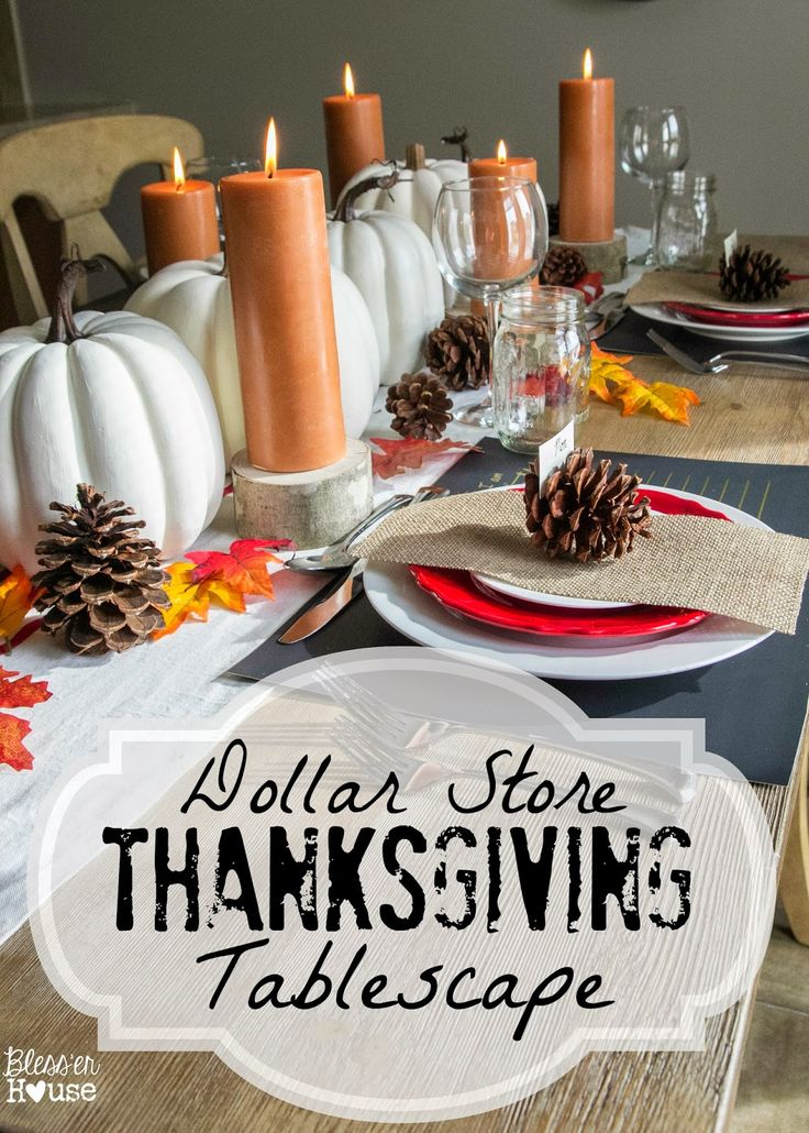 Dollar Store Thanksgiving Tablescape - Bless'er House