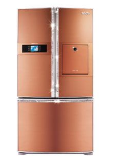 And in Russia and France, you can buy an LG (called DIOS in some countries) peach colored refrigerator studded with Swarovski crystals.